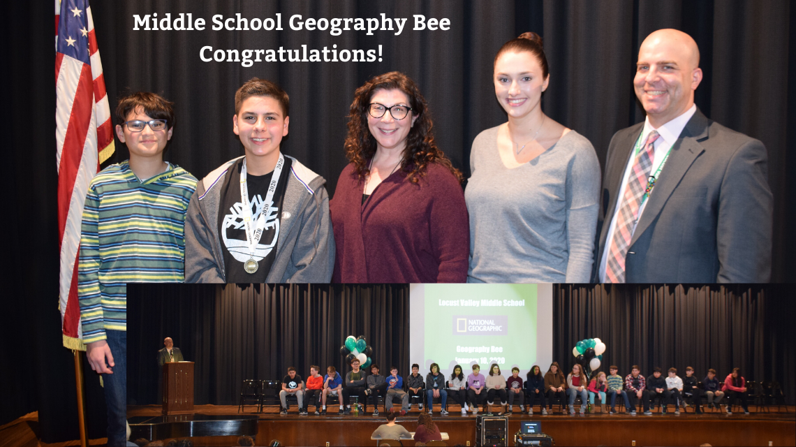 Geography bee winners, staff and participants.